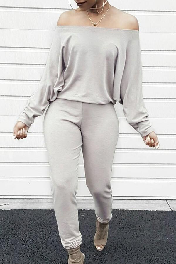 Stylish Bateau Neck Batwing Sleeves Grey Blending One-piece Jumpsuits