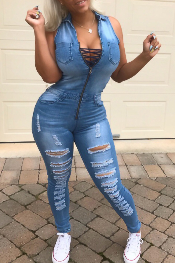 Euramerican Turndown Collar Lace-up Hollow-out Blue Denim One-piece Jumpsuits