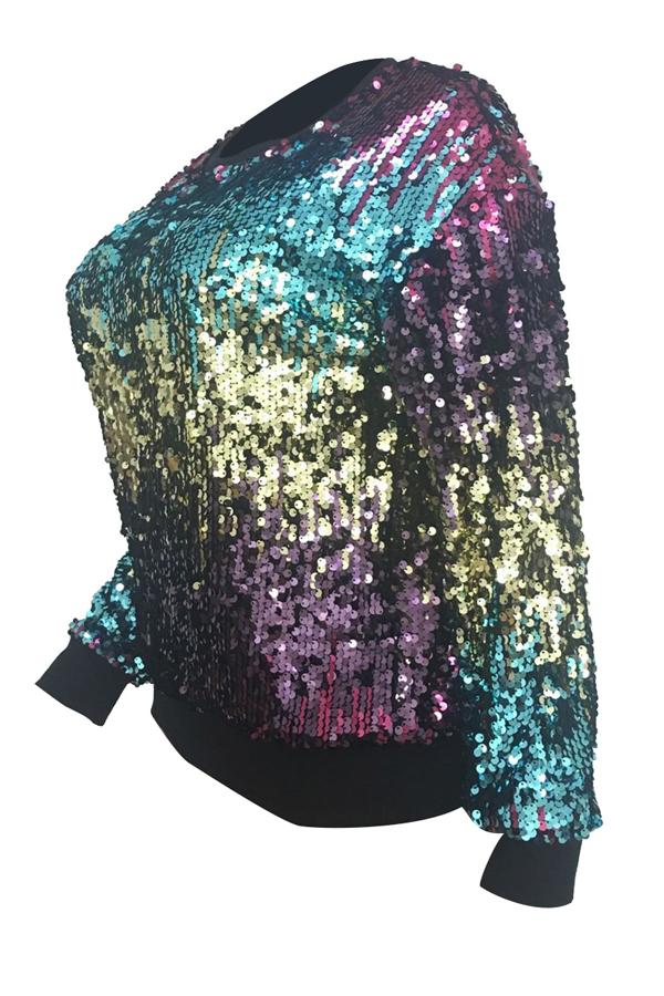 Euramerican Rundhals Pailletten Dekorative Polyester Hoodies