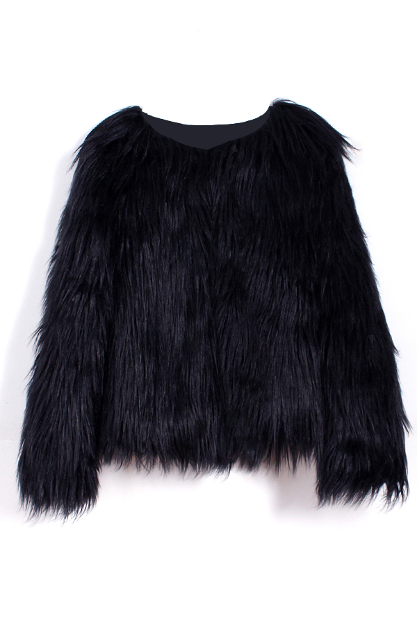 Fashionable Round Neck Long Sleeves Black Faux Fur Coat