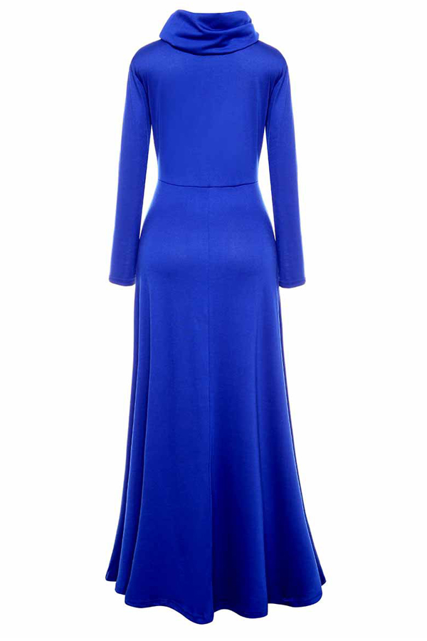 Casual Heaps Collar Long Sleeves Blue Cotton Ankle Length Dress