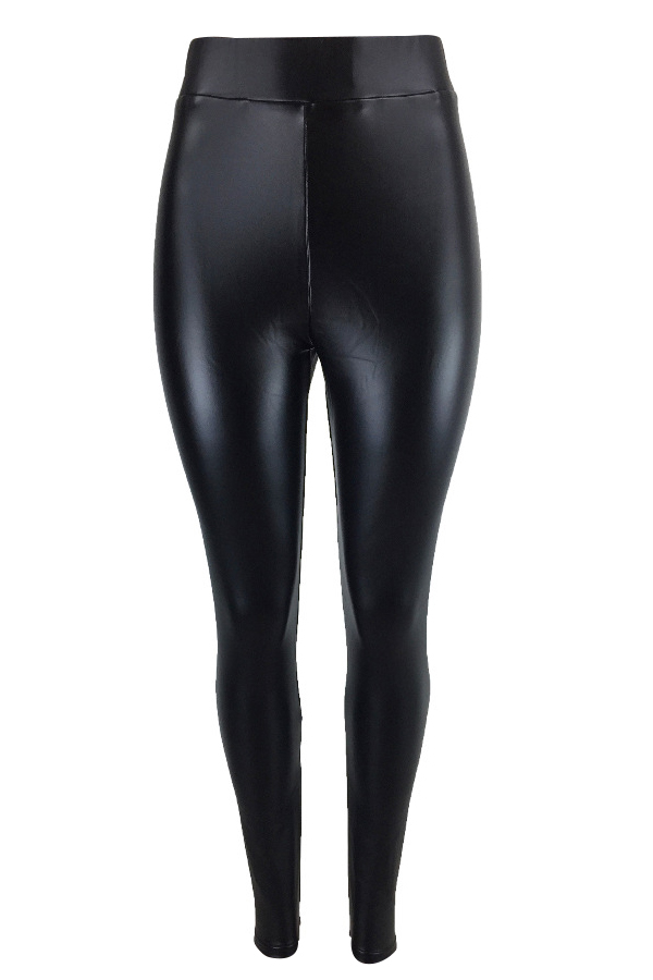 Euramerican High Elastic Waist Black Leather Pants