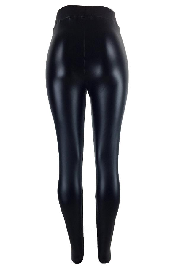Pantalones De Cuero Negro Euramerican Alta Cintura Elástica