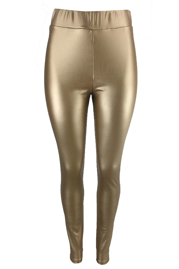 Euramerican High Elastic Waist Gold Leather Pants