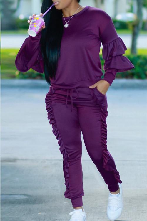 Conjunto De Pantalones De Dos Piezas De Mezcla Púrpura Y Acanalado De Cuello Redondo A La Moda