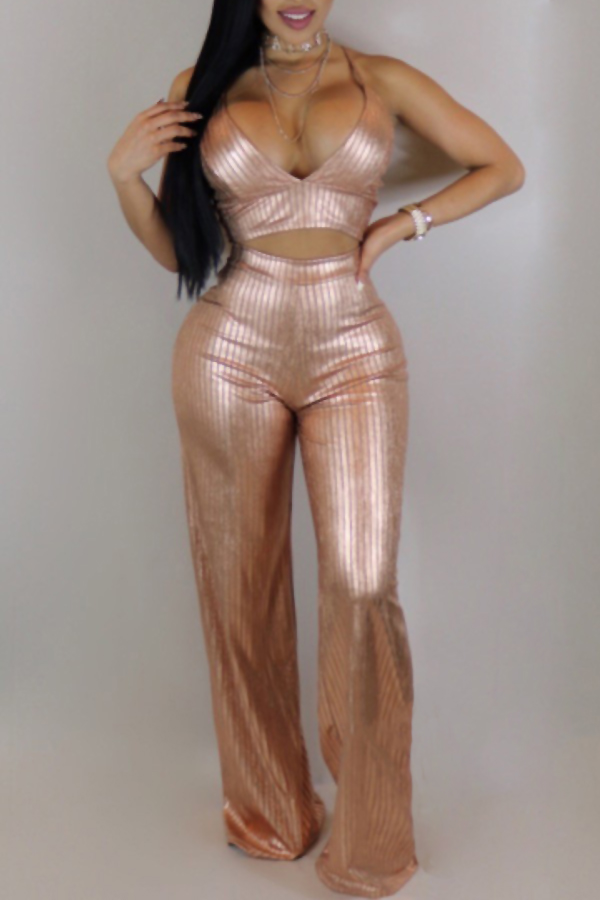 Sexy Spaghetti Strap Sleeveless Gold Blending Two-piece Pants Set<br>