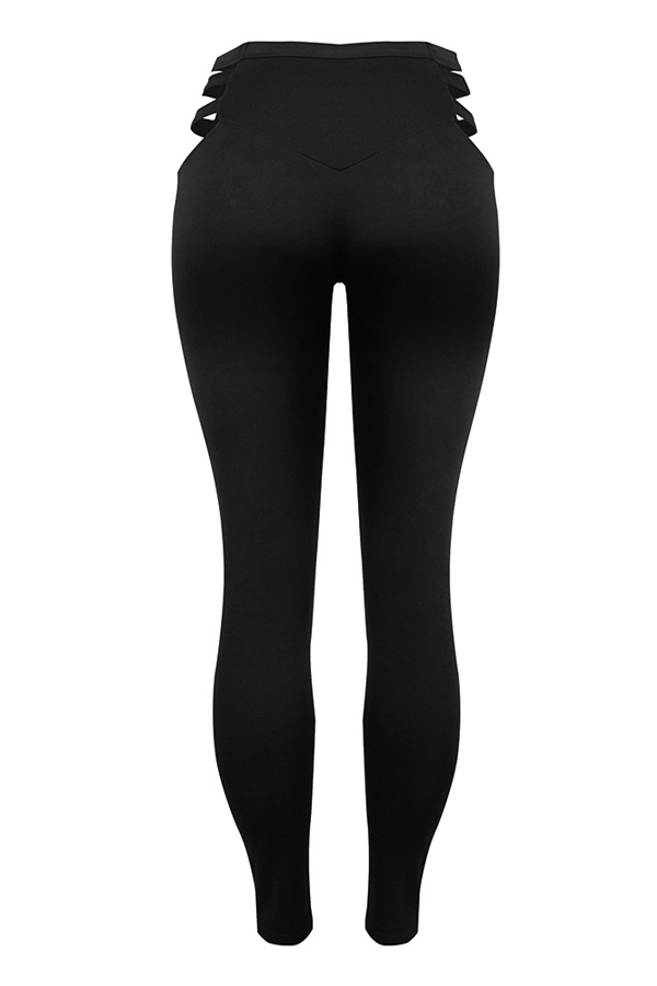 Fashionable High Waist Hollow-out Black Polyester Leggings