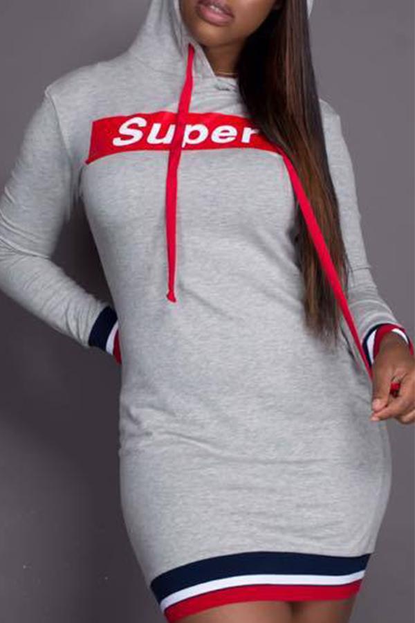 Letras De Cuello Con Capucha Casual Impreso Mini Vestido De Poliéster Gris