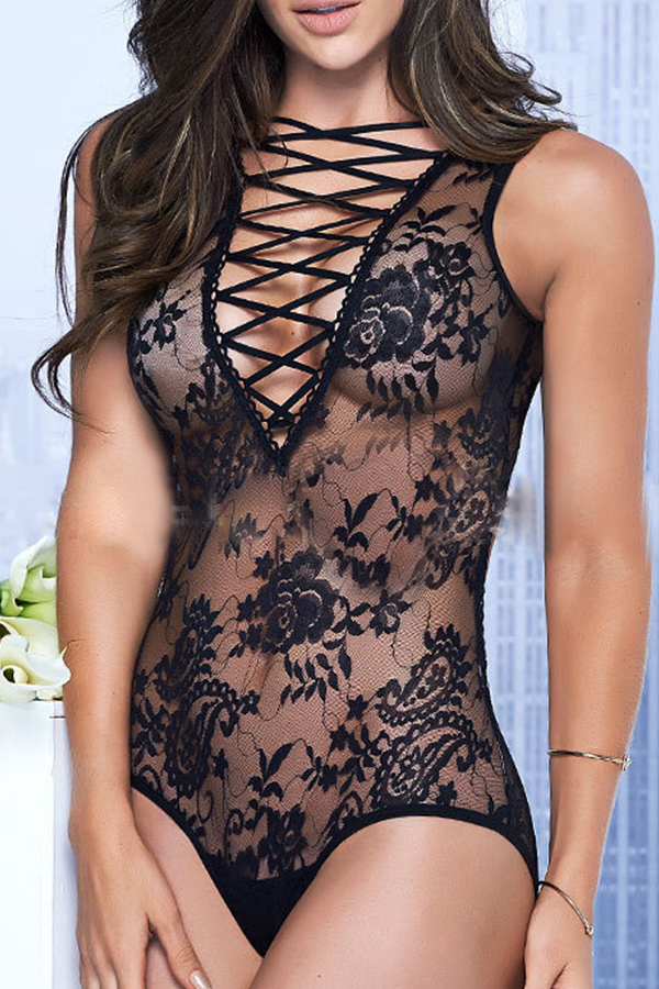 Sexy Lace-up See-Through Black Lace One-piece Jumpsuits