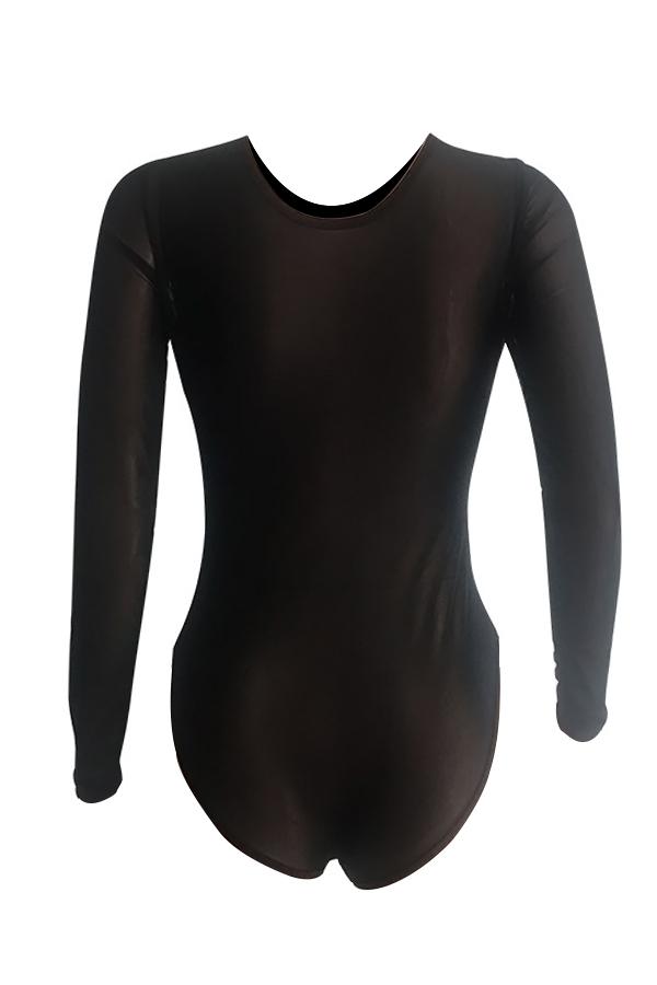 Euramerican Round Neck See-Through Hot Drilling Decorative Black Spandex One-piece Jumpsuits