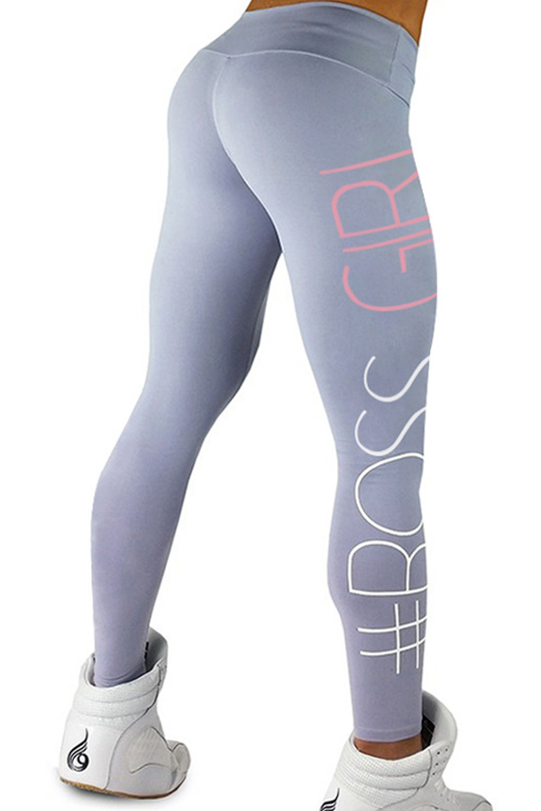 Euramerican High Waist Letters Design Light Grey Cotton Blends Leggings