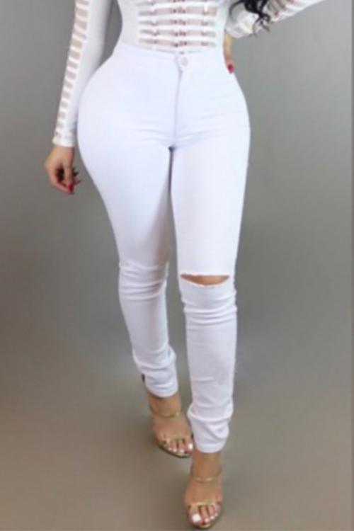 Trendy Mid Waist Broken Holes White Denim Pants<br>