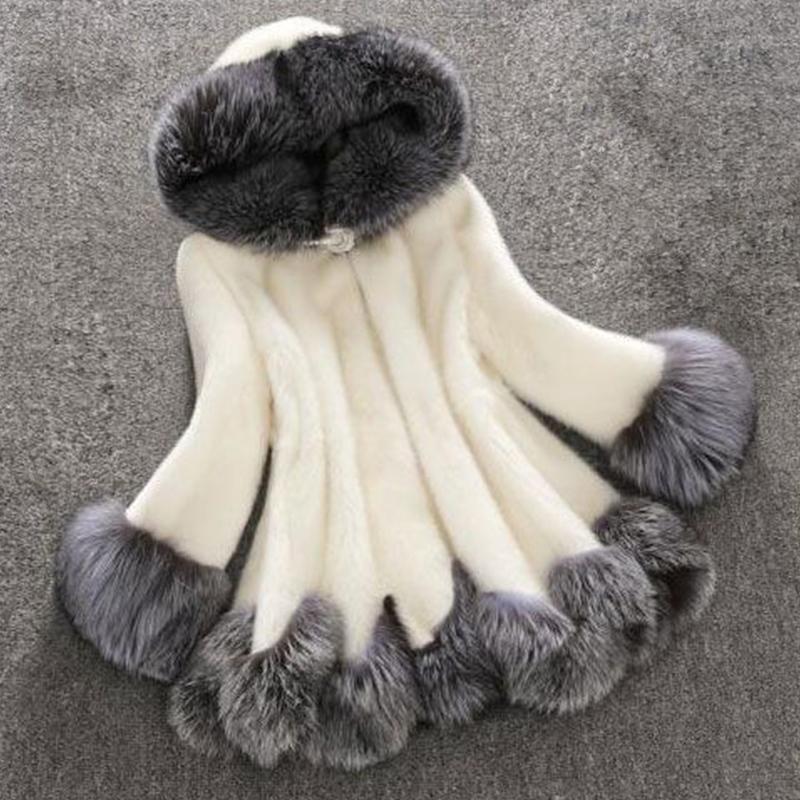 Euramerican Con Capucha Cuello Diseño Blanco Faux Fur Coat