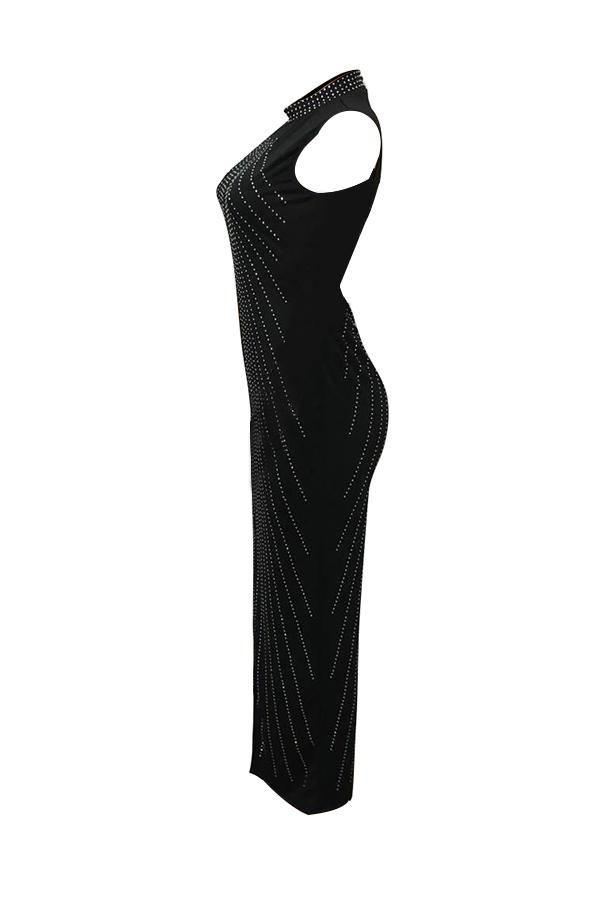 Retro Mandarin Collar Hot Drilling Decorative Black Polyester Ankle Length Dress