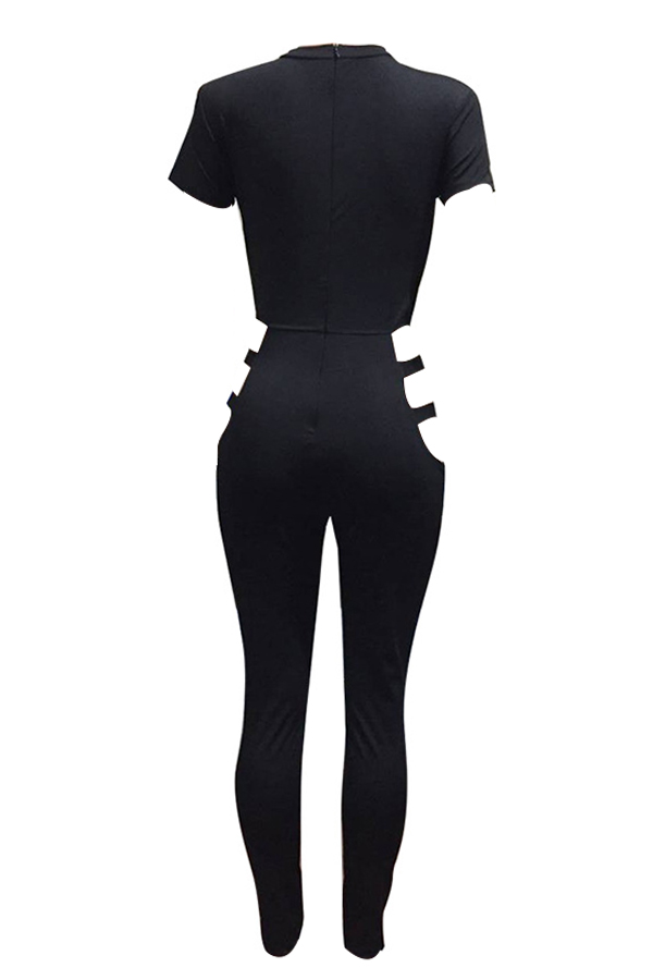 Lovely Sexy Round Neck Hollow-out Black Polyester One-piece Jumpsuits