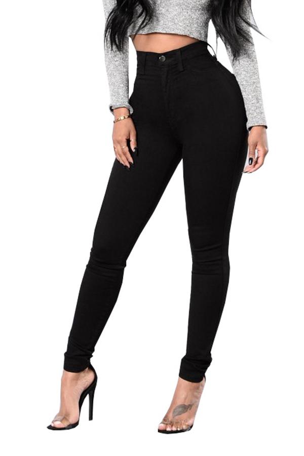 Casual Cintura Alta Zíper Design Preto Denim Jeans