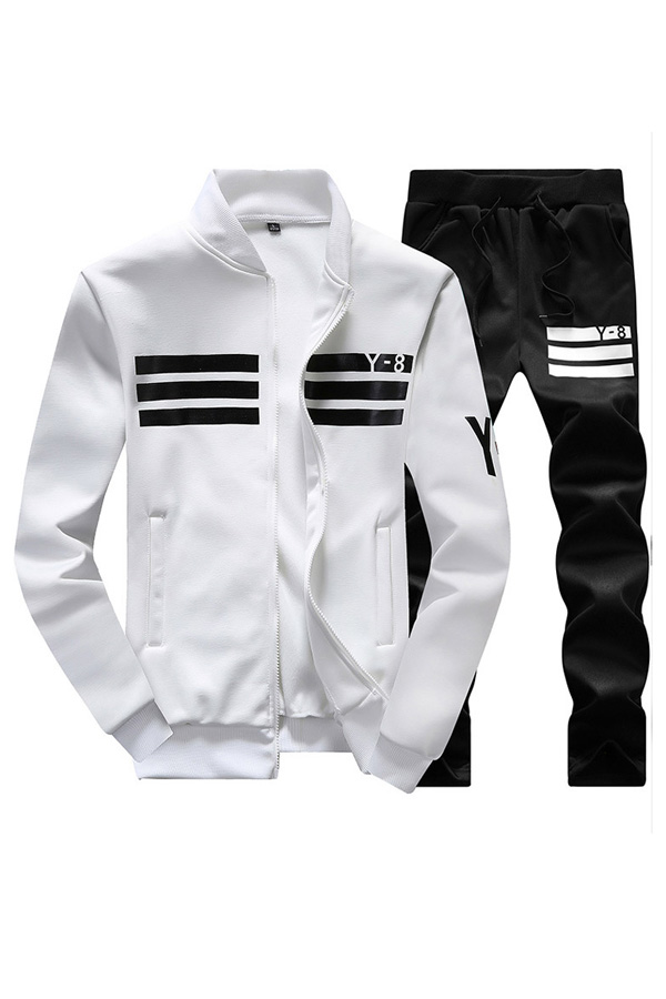 Leisure V Neck Long Sleeves Zipper Design White Polyester Two-piece Pants Set<br>