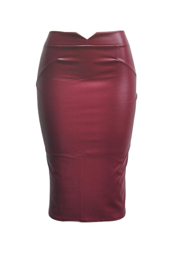 Moda Cintura Alta De Cuero Rojo Purpúreo Vaina Faldas Hasta La Rodilla