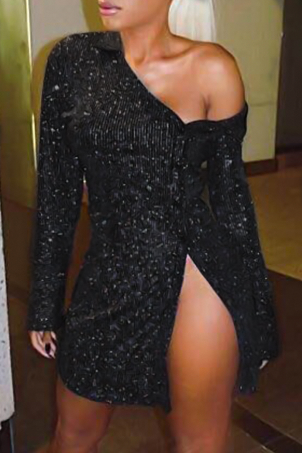 Sexy Boat Neck Sequins Decoration Black Polyester Sheath Mini Dress
