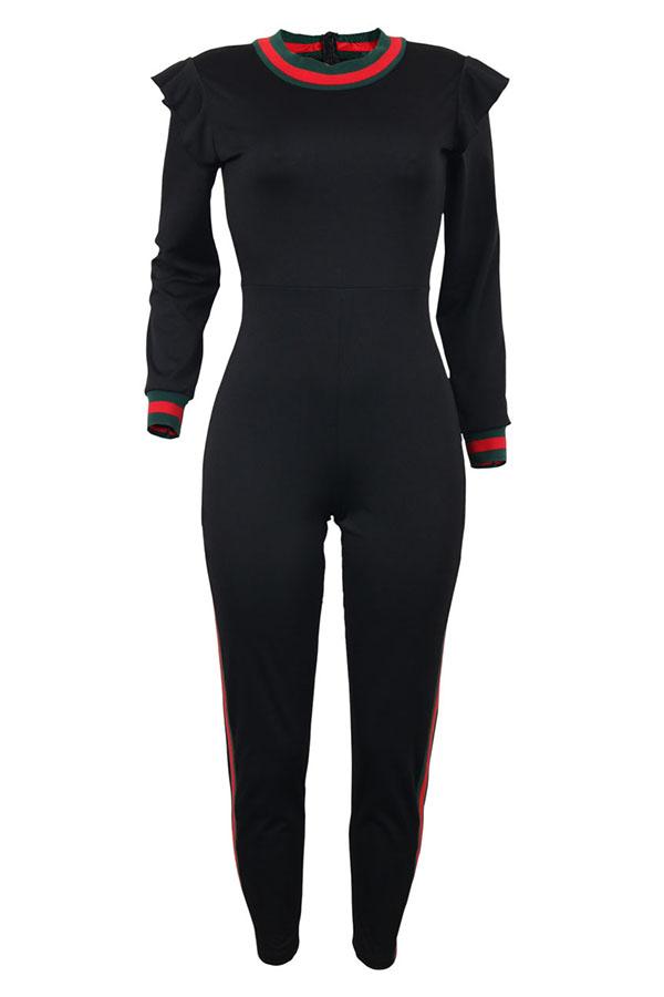 Diseño De Falbala De Cuello Redondo Y Moda Mono Negro De Una Pieza De Poliéster