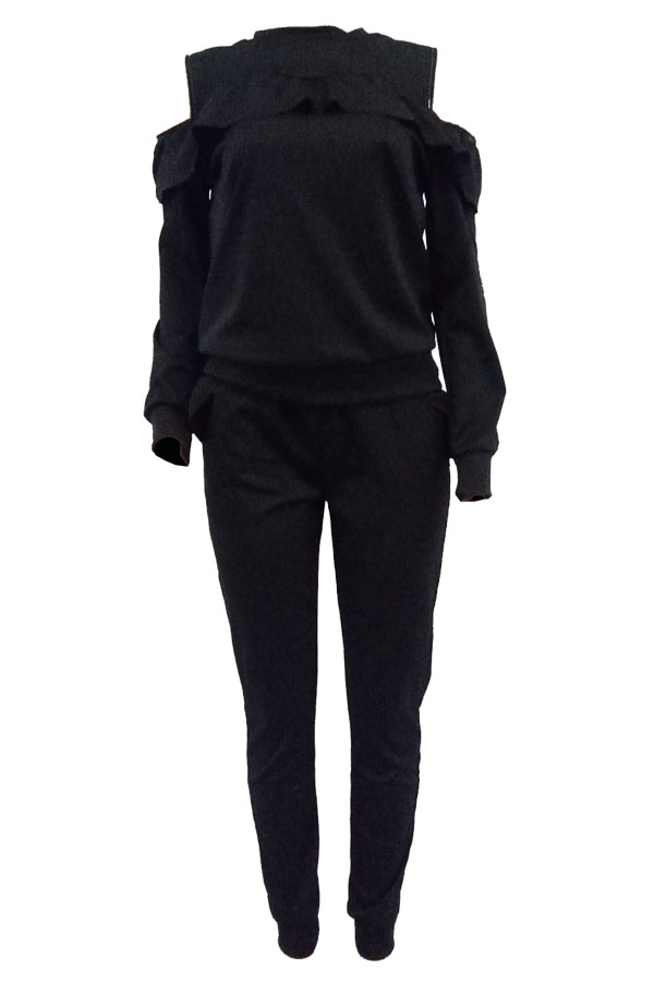 Casual Round Neck Dew Shoulder Ruffle Design Black Blending Two-piece Pants Set