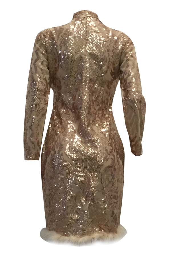 Sexy Deep V Neck See-Through Rose Gold Polyester Sheath Knee Length Dress