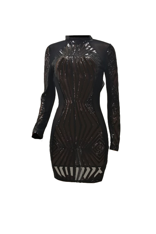 Sexy Turtleneck Patchwork Design Backless Black Polyester Mini Dress(Without Briefs)
