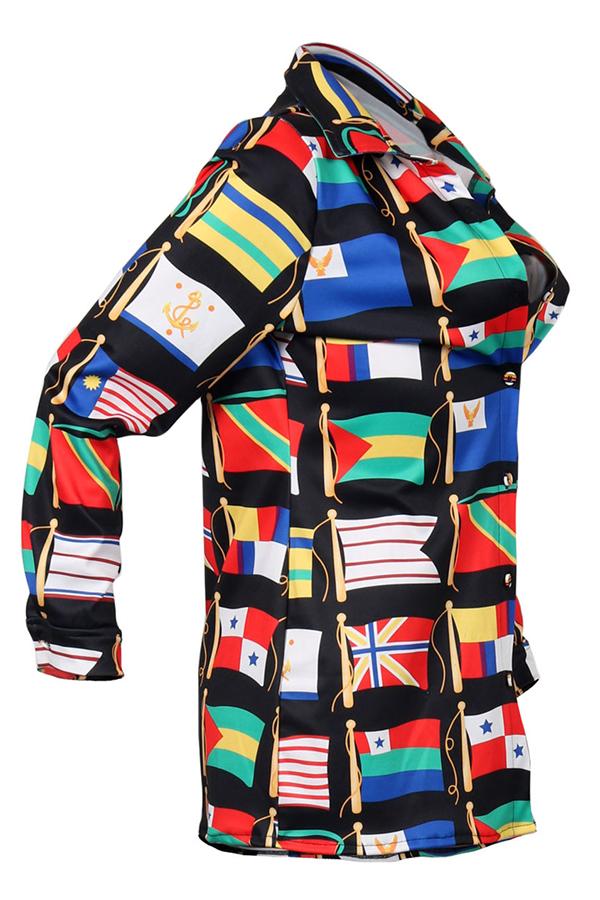 Euramerican Turndown Collar Printed Blending Shirts