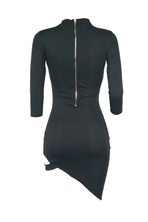 Sexy Turtleneck Hollow-out Black Polyester Mini Dress