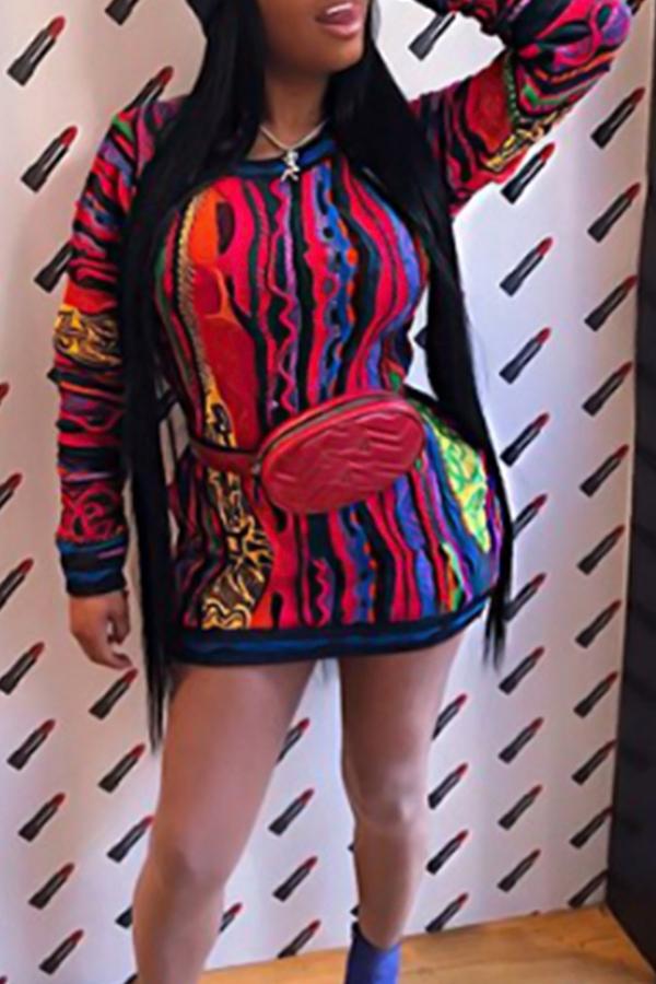 Vestido Informal De Manga Larga De Cuello Redondo De Manga Larga De Cuello Redondo