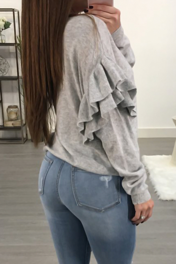 Sexy Deep V Neck Layered Ruffles Light Grey Knitting Sweaters