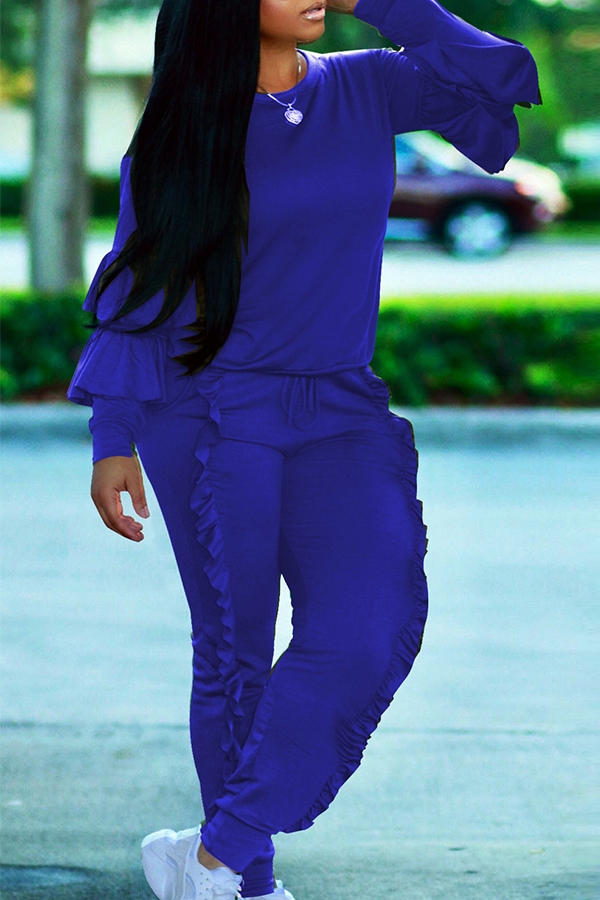 Fashionable Round Neck Ruched Blue Blending Two-piece Pants Set