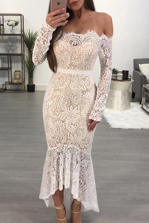 Ретро Бейто Шея Прозрачное Белое Платье Из Лодыжки Из Кружева (с Подкладкой)
