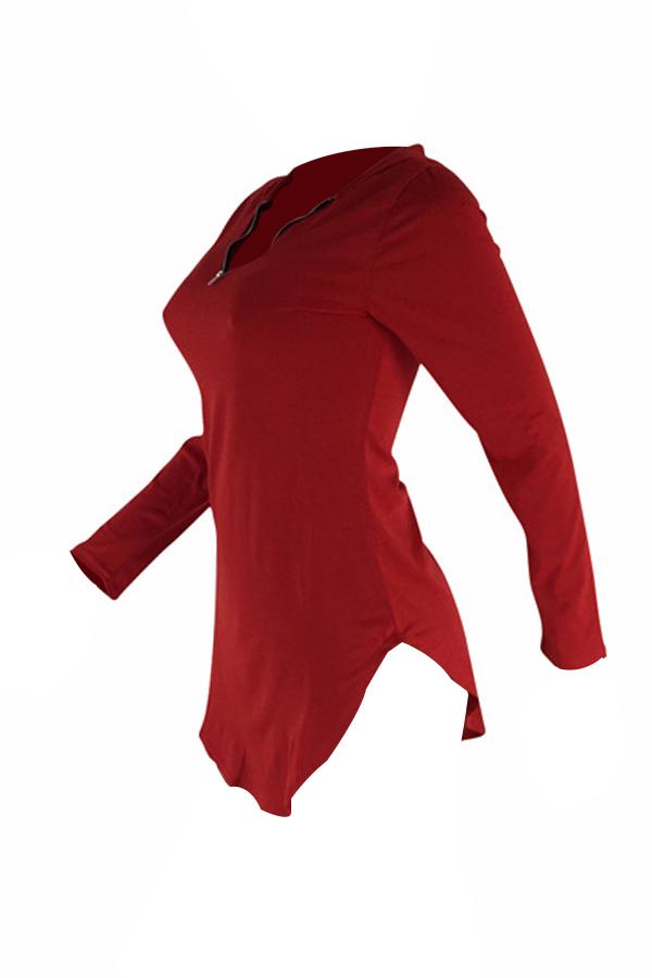 Sexy Hooded Collar Irregular Design Red Polyester Mini Dress