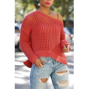 Sexy Sloping Shoulder Hollow-out Red Blending Swea