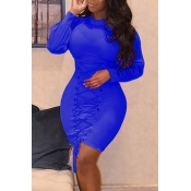 Trendy Round Neck Lace-up Blue Polyester Sheath Mini Dress