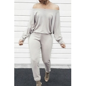 Lovely Casual Dew Shoulder Blending Grey One-piece Jumpsuit