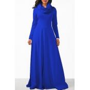 Cuello Redondo Casual Manga Larga Vestido De Tobillo De Algodón Azul