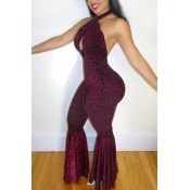 Sexy Halter Neck Backless Purple Polyester One-piece Jumpsuits