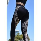 Euramerican Hoher Taille Panther Print Schwarz Polyest