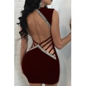 Sexy V-Ausschnitt Aushöhlen Weinrot Polyester Mantel Minikleid