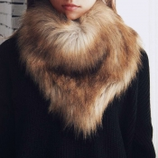 Fashionable Fur Design Khaki Wool Scarves