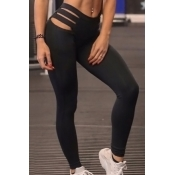 Fashionable High Waist Hollow-out Black Polyester