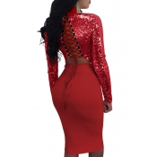 Sexy Mandarin Collar Lace-up Hollow-out Red Polyester Two-piece Skirt Set(Double Side Wear)