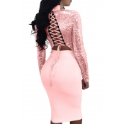 Sexy Mandarin Collar Lace-up Hollow-out Pink Polyester Two-piece Skirt Set(Double Side Wear)