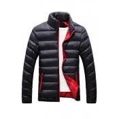 Fashionable Mandarin Collar Long Sleeves Black Cot