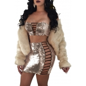 Sexy Strapless Hollow-out Gold Polyester Two-piece Skirt Set(Without Coat)