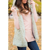 Lovely Fashionable Hooded Collar Beige Velvet Long