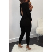 Sexy Deep V Neck Back Hollow-out Black Polyester One-piece Jumpsuits
