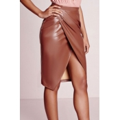 Trendy High Waist Front Split Coffee Leather Knee